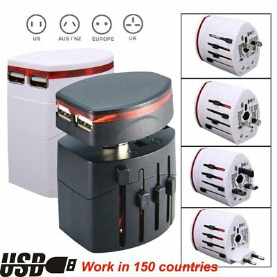 AU/UK/US/EU Universal International Travel Adapter/Converter Power w/ 2USB Lot W