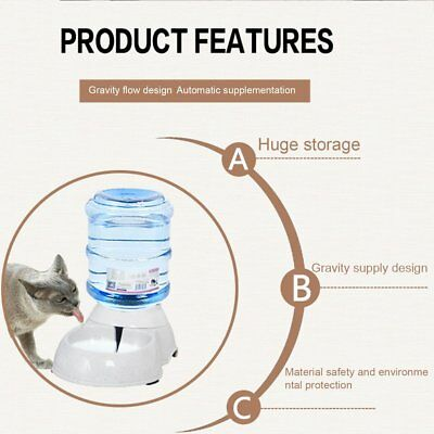 Automatic Pet Dog Cat Water Feeder Bowl Bottle Dispenser Plastic 3.5Liters WO