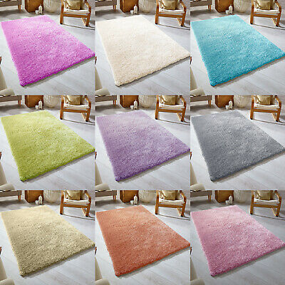 SMALL X LARGE SIZE THICK PLAIN SOFT SHAGGY RUG NON SHED 5 cm PILE MODERN RUGS