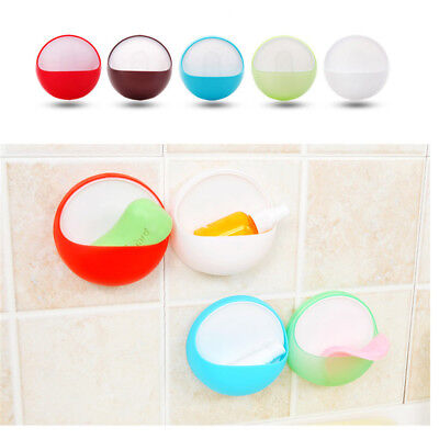 plastic suction cup soap toothbrush box dish holder bathroom shower accessory GT