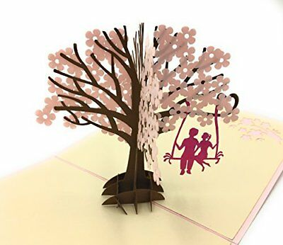 3D Pop Up Greeting Card Couple Swing Cherry Blossom Anniversary For Him Her Gift