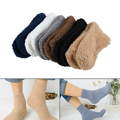 New 12x Warm Winter Man Bed Socks Pure Fluffy Thick Soft Home Foot Clothing