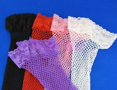 1 Pair New Sexy Women's Ladies Purple Lace Top fishnet Thights high Stockings