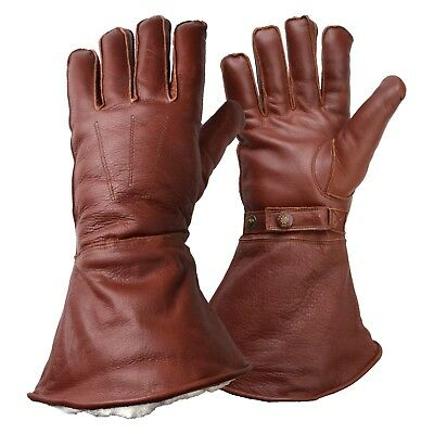 Goldtop Merino Wool Lined Brown Leather Motorcycle & Aviator Despatch Gauntlets