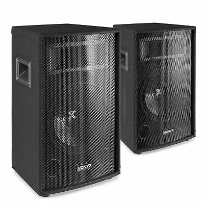 """Pair of Skytec 12"""" Inch Passive PA Speakers Disco DJ Sound System Package 1200W"""
