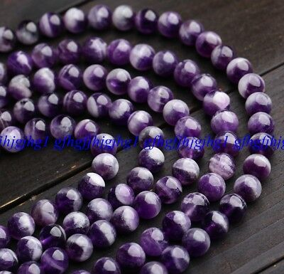 """100% Natural Dream Lace Purple Amethyst Round Beads 15"""" 6mm 8mm 10mm 12mm"""