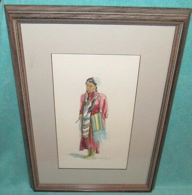 Vintage Native American Indian Watercolor Painting Signed & Framed - #2
