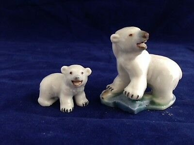 Two vintage Wade porcelain early whimsies polar bears - 1956-61