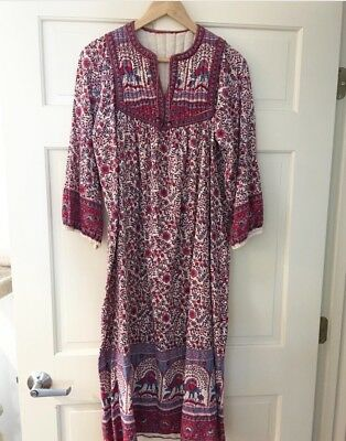 Vintage Indian Cotton Dress With Quilted Yoke 70's Boho Hippy