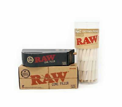 RAW Organic 1 1/4 Pure Hemp Pre-Rolled Cones With Filter (75 Pack + Cone Fill...