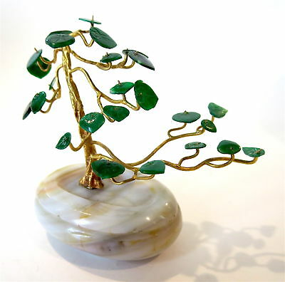 JADEITE - IMPERIAL Green Gold AGATE Miniature TREE Chinese RARE Fine