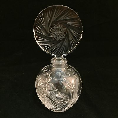 Beautiful Etched Glass Perfume Scent Bottle