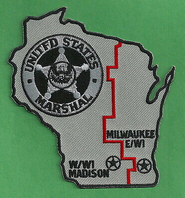United States Marshal Milwaukee-Madison Wisconsin Police Patch State Shaped