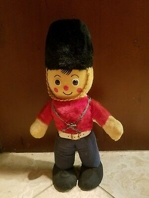 """Vintage """"KNICKERBOCKER"""" Toy co. MUSICAL TOY SOLIDER  Felt Plush  14 inches gc"""