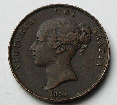 1854 UK (British) Victoria Coin - One Penny (1d) - scratches - plain trident