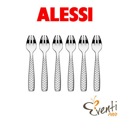 "Alessi - Set 6 forchettine per ostriche e molluschi ""Colombina fish"" FM23/42"