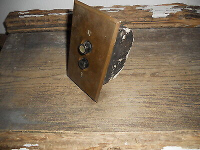 Vtg Antique Rustic Brass Double Push Button Switch, Plate, & Box Aged Patina