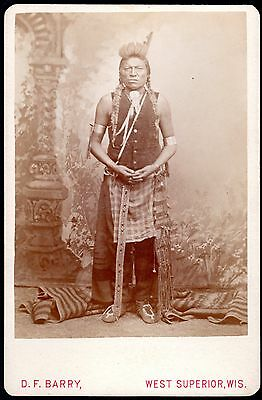 c.1890 OLD CROW INDIAN WARRIOR ~ ORIGINAL D.F. BARRY PHOTOGRAPH ~ SITTING BULL