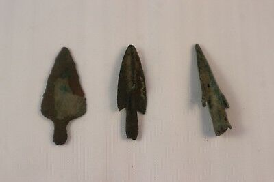 Ancient Bactrian BRONZE  3 SMALL ARROW HEADS  C.200 BC