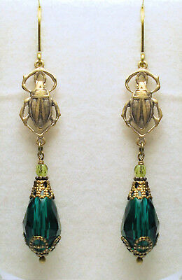 Art Nouveau Art Deco Vintage Style Brass Beetles Peacock Green Drop Earrings
