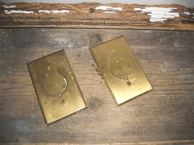 Vtg 2 Antique Rustic Solid Heavy Brass Floor Outlet Plates Aged Patina