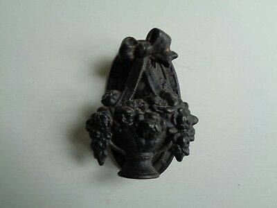 Vintage English Cast Iron Door Knocker Black Flower Basket Lovely Striking