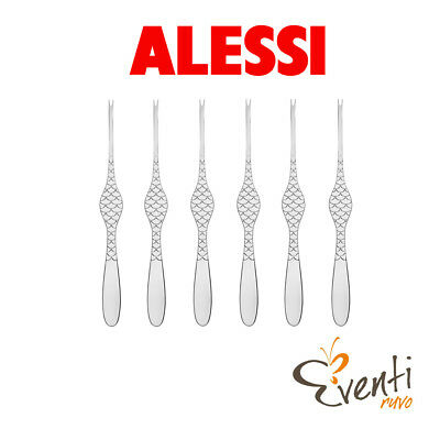 "Alessi - Set 6 forchettine per crostacei ""Colombina fish"" FM23/43"