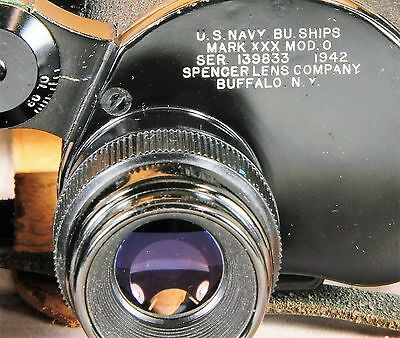 US NAVY WWII Spencer Binoculars 7 x 50 with Leather Case Near Mint COATED Optics