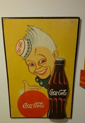 Vintage Yellow Coca Cola Bottle Wooden Sign Collectible