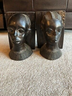Vintage Hand Carved Pair Wood African Tribal Bust Bookends Woman & Man Ebony