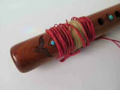 Vintage HIGH SPIRITS Native American 6-hole Flute Key of A Walnut with Turquoise