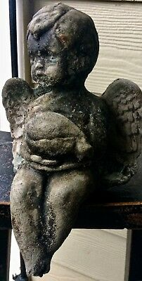 "12"" Fountain Cherub Old South Authentic Vintage Garden Cement Concrete Statue"