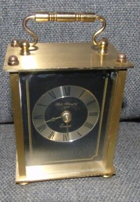Vintage 1978 Black Face Brass Carriage Clock W. Germany