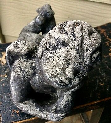 "12"" Daydreaming Angel Worn Antique Vintage Garden Lawn Cement Concrete Statue"
