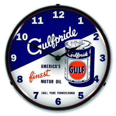 "Collectible 14"" Double Bubble Gulf Gulfpride Oil Retro Backlit Garage Clock"