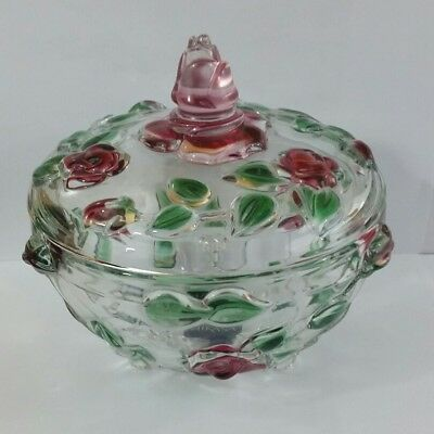 Mikasa Rose Garden Crystal Bowl COVERED CANDY DISH Germany