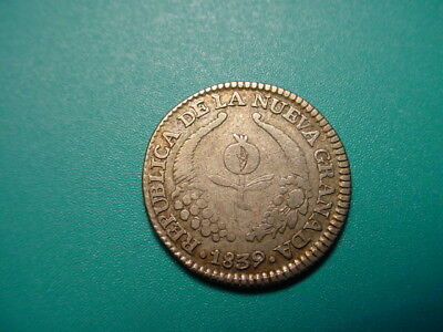 Columbia~ Silver 1839-RS 1-Real in Very Nice Condition!
