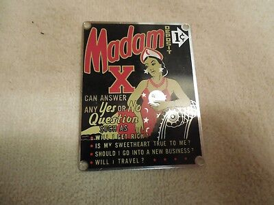 Vintage  **madam-X Fortune Teller**  One Cent Penny Vending Machine Name Plate