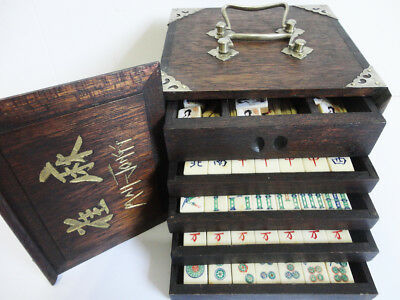 "VINTAGE BONE & BAMBOO MAH JONG SET WITH ""BEAUTIFUL FLOWER TILES"" COMPLETE 1920's"