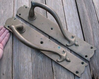 "Large Old Pair of Brass Door Pull Handles 14.5"" 1 of 2 pairs"