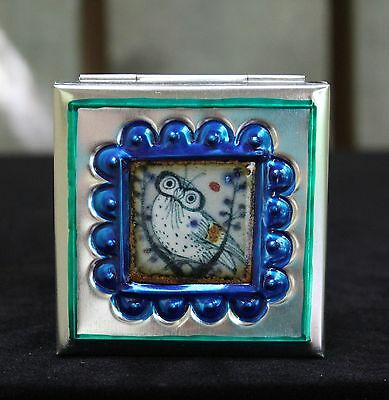 Sm Tin Box & Ceramic Tile of Wise Owl by Tirso Cuevas, Mexican Folk Art Oaxaca