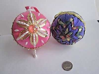 vintage pink sequined dresden pearl beads ornament Purple quilted ornament set