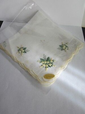 vintage handkerchief Swiss fine Cotton yellow flowers embroidery