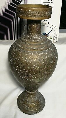Antique 19Th  century Persian engraved bronze/brass trumpet vase H36cm