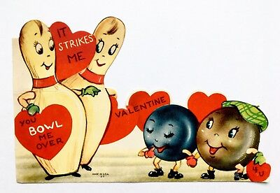 Vintage Die Cut Valentine Card Anthropomorphic Bowling Ball Pin Heart Hat Strike