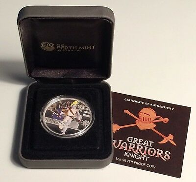 2010 Tuvalu The Great Warriors-Knight 1 oz. 999 Silver Coin-Colorized