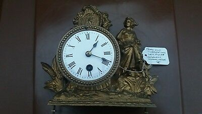 Antique 19th Century French Gilt Mantle Clock top & movement. With fixing rods.