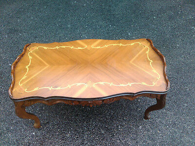 Outstanding 1920s 50s Small Size  Carved French Marquetry Inlaid Coffee Table