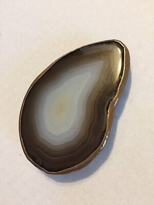 Vintage Hand Made Agate and Brass Copper Belt Buckle Western