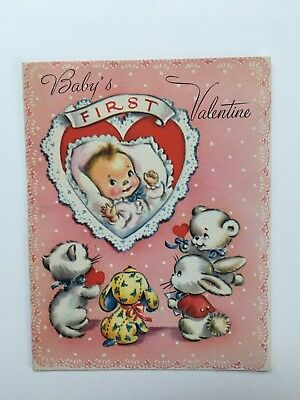 Vintage Rust Craft Valentine Card Baby Girl Heart Lace Bear Bunny Puppy Cat Pink